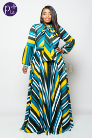 Plus Size Striped Tie Neck Bell Sleeved Maxi Dress