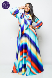 Plus Size Watercolor Striped Puffed Sleeved Tie Neck Maxi Flowy Dress