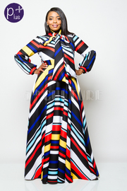 Plus Size Deep Colored Striped Tie Neck Flowy Maxi Puff Sleeved Dress
