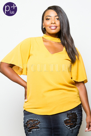 Plus Size Keyhole Solid Short Sleeved Flowy Blouse