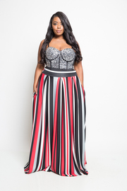 Plus Size Classic Striped Maxi Hi Waist Skirt