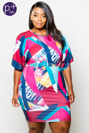 Plus Size Mixed Artistic Printed Bodycon Dress
