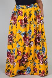 Plus Size Roses In Bloom Printed Hi Waist Maxi Skirt