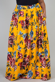 Plus Size Roses In Bloom Printed Hi Waist Maxi Skirt