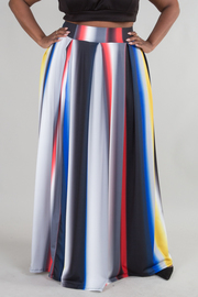 Plus Size Colorblock Striped Hi Waist Maxi Skirt