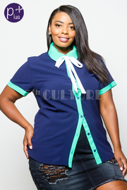 Plus Size Basic Colorblock Tie Button Down Top