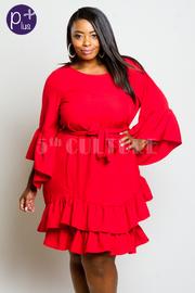 Plus Size Miss Perfect Ruffled Hi Low Tie Waist Dress