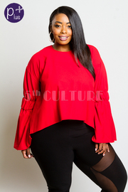 Plus Size Solid & Flirty Bell Sleeved Top