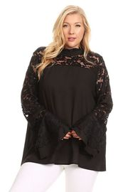 Plus Size Lacey Trim Long Sleeved Top