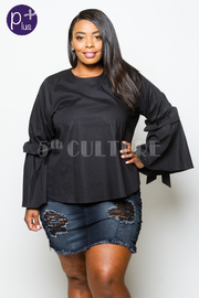 Plus Size Long Sleeved Tie Detailed Flowy Top