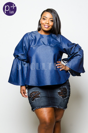 Plus Size Bell Sleeved All Day Denim Flowy Top