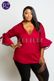 Plus Size Ruffled Bell Sleeved Collared Criss Cross Top