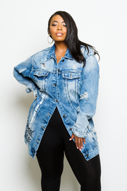 Plus Size Casual In Distressed Denim Button Down Jacket