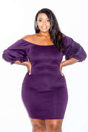 Plus Size Bubble Sleeved Wide Neck Bodycon Dress