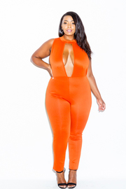 Plus Size Keyhole Sexy Solid Jumpsuit