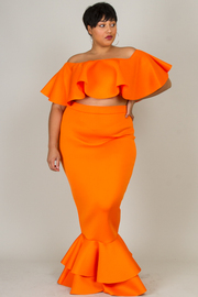 Plus Size Flounced 2-Piece Cropped Off Shoulder Mermaid Style Maxi Skirt Set