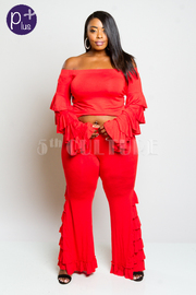 Plus Size Classy Girl Ruffled Layers Sleeved Top/Pants Set