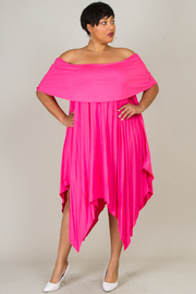 Plus Size Classic Off Shoulder Uneven Maxi Flounce Dress