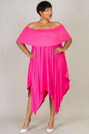 Plus Size Classic Off Shoulder Uneven Maxi Flounce Dress