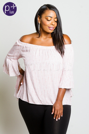 Plus Size Off Shoulder Striped Sunny Blouse