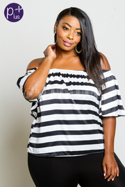 Plus Size Off Shoulder Striped Summer Top