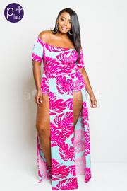 Plus Size Off Shoulder Palms Maxi Sexy Slit Dress