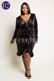 Plus Size V Neck Ruffled Cascade Holiday Velvet Dress