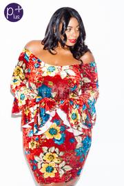 Plus Size Wide Neck Floral Ruffled Long Sleeved Velvet Dress