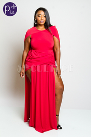 Plus Size Sexy In Style Slits Cape Back Maxi Dress