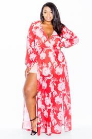 Plus Size Surplice Sheer Maxi Slit Dress