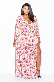Plus Size Surplice Floral Slit Maxi Spring Dress