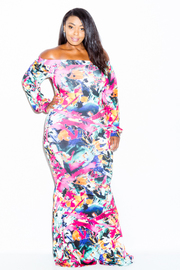 Plus Size Off Shoulder Mixed Printed Maxi Dress