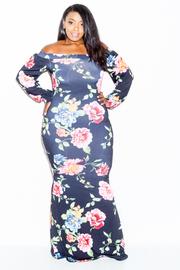 Plus Size Colorful Roses Wide Neck Maxi Dress
