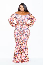 Plus Size Colorful Floral Printed Wide Neck Maxi Dress