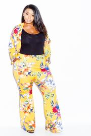 Plus Size Flowers In Bloom Blazer Pants Set