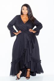 Plus Size Surplice Ruffled Up Long Peasant Dress