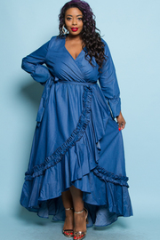 Plus Size All Denim Peasant Maxi Ruffled Up Dress