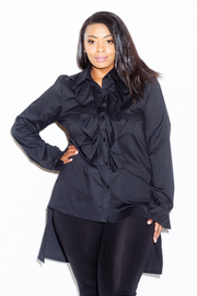 Plus Size Button Down Casual Ruffled Shirt