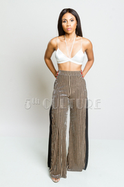 Striped Metallic Velvet Slit Pants
