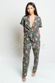 Surplice Floral Pocket Jumpsuit