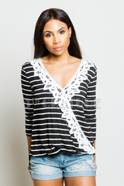 Surplice Crochet Trim Striped Top