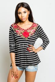 Rose Embroidery Striped Summer Top