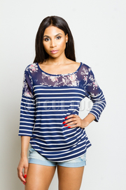 Floral Sheer Trim Striped Top