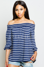 Off Shoulder Striped Weekend Top