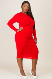 Plus Size Scoop Neck Long Sleeved Tube Midi Dress
