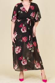 Plus Size Floral Kimono Sheer Maxi Dress
