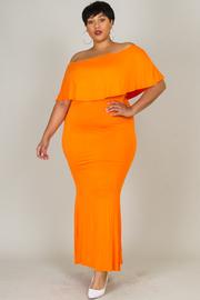 Plus Size Radiant Flounced Off Shoulder Maxi Dress