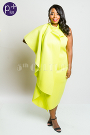 Plus Size One Shouder Cleopatra Cascade Cape Tube Dress