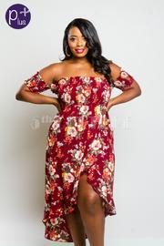 Plus Size Smocked Floral Off Shoulder Woven Dress