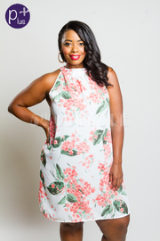 Plus Size Blossom Floral Tunic Woven Dress